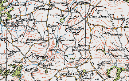 Old map of Bocaddon in 1919