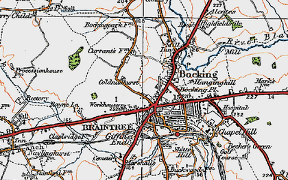 Old map of Bocking in 1921