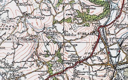 Old map of Bodelva in 1919