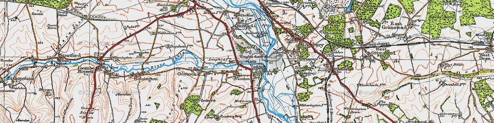 Old map of Bodenham in 1919
