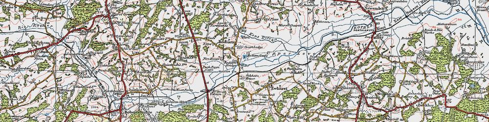 Old map of Bodiam in 1921