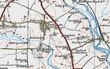 Old map of Bodicote in 1919