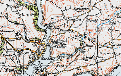Old map of Bodinnick in 1919