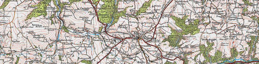 Old map of Bodmin in 1919