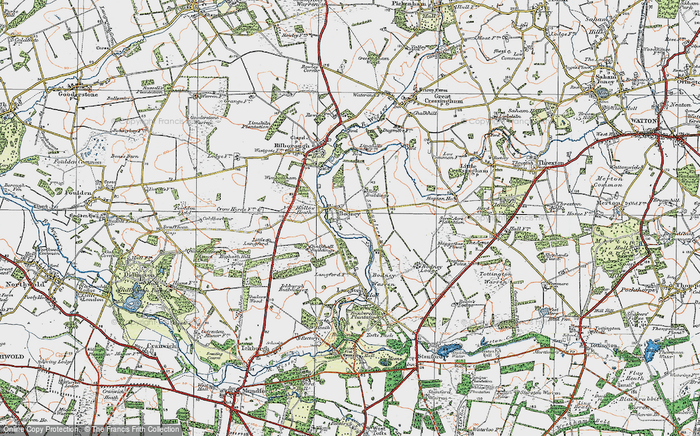 Old Map of Historic Map covering Langford in 1921