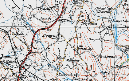 Old map of Bodwen in 1919