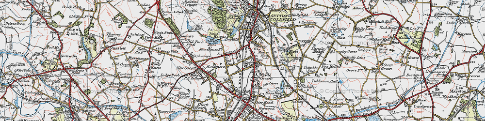 Old map of Wyndley Pool in 1921