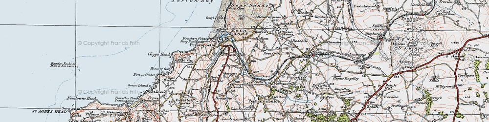 Old map of Bolingey in 1919