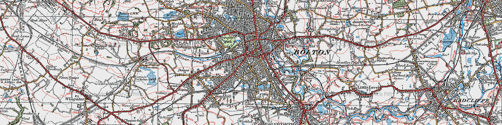 Old map of Bolton in 1924