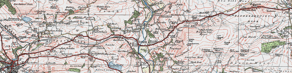 Old map of Bolton Abbey in 1925