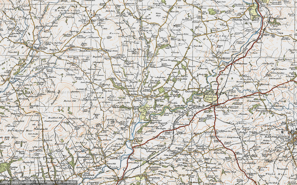 Old Map of Historic Map covering Admiral's Wood in 1924