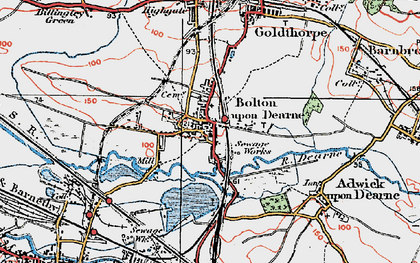 Old map of Bolton Upon Dearne in 1924