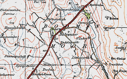 Old map of Bolventor in 1919
