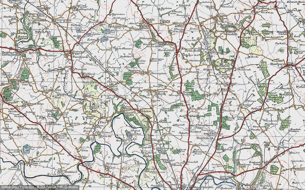 Old Map of Bomere Heath, 1921 in 1921