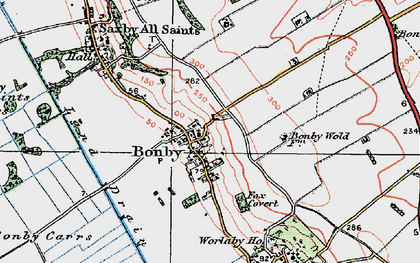 Old map of Worlaby Fox Covert in 1924