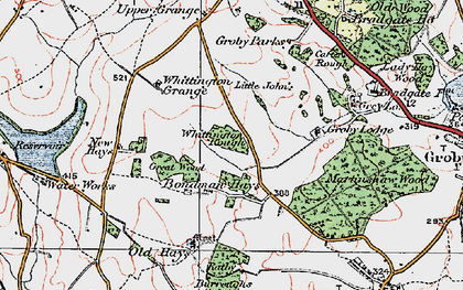 Old map of Whittington Grange in 1921