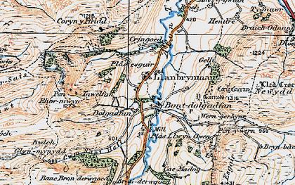 Old map of Bont Dolgadfan in 1921