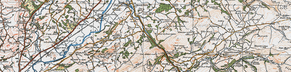 Old map of Tirmawr in 1923