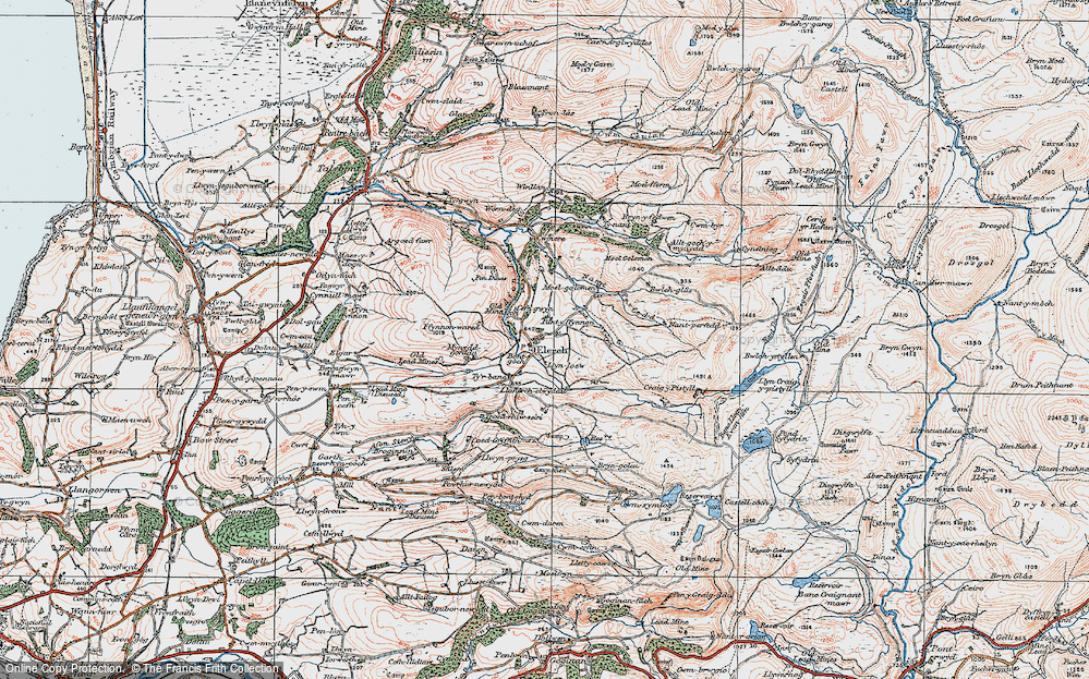 Old Map of Historic Map covering Alltgochymynydd in 1922