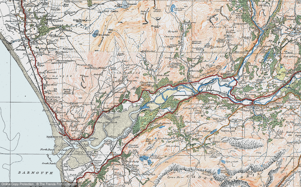 Old Map of Historic Map covering Abergwynant in 1922
