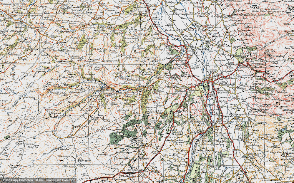 Old Map of Historic Map covering Aber-ddu in 1922