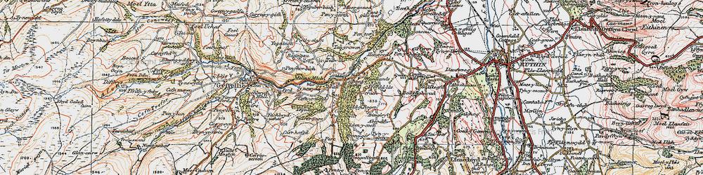 Old map of Aber-ddu in 1922