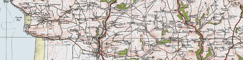 Old map of Winsham Down Ho in 1919