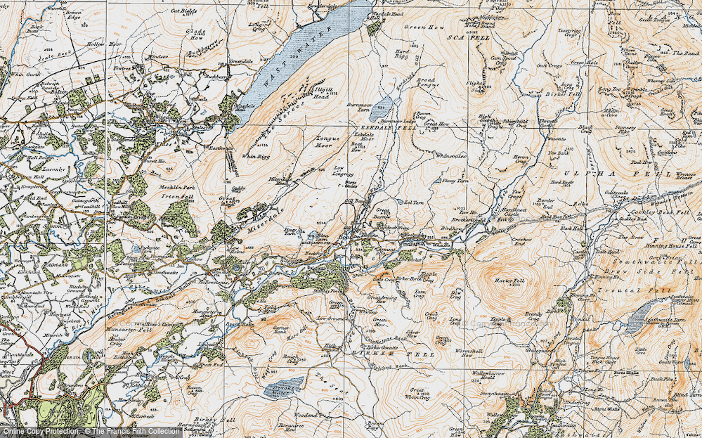 Old Map of Historic Map covering Whincop in 1925