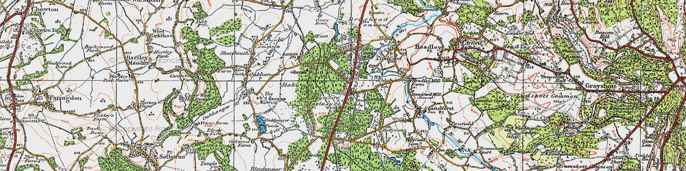 Old map of Bordon in 1919