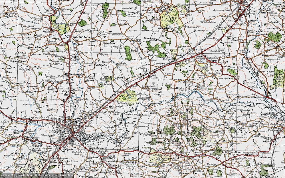 Old Map of Boreham, 1921 in 1921