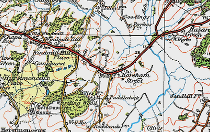 Old map of Windmill Hill Place in 1920