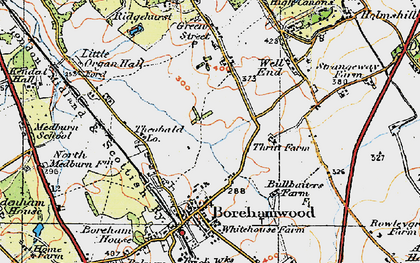 Old map of Borehamwood in 1920