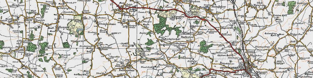 Old map of Woolpit Wood in 1921