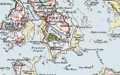 Old map of Tresco in 1919