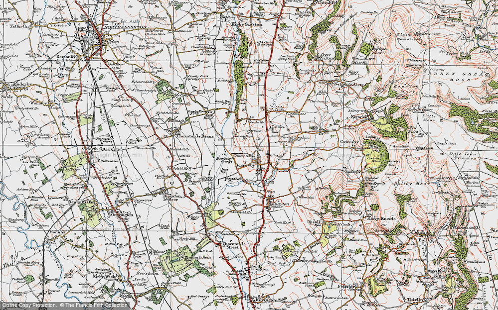 Old Map of Historic Map covering Leake Ho in 1925