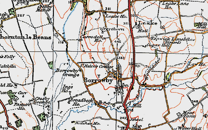 Old map of Woundales in 1925