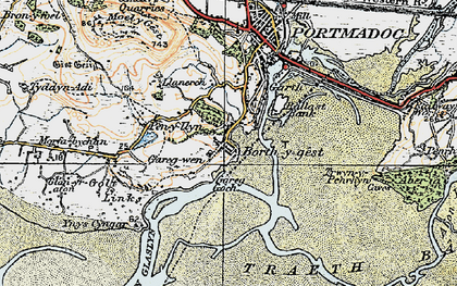 Old map of Borth-y-Gest in 1922