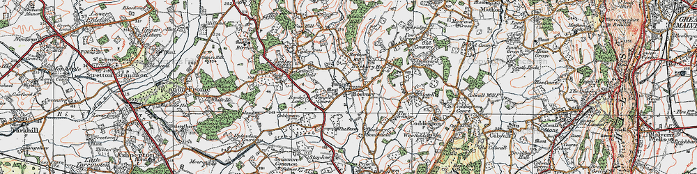 Old map of Bosbury in 1920