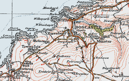 Old map of Boscastle in 1919