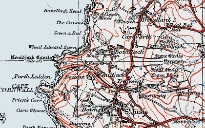 Old map of Wheal Edward Zawn in 1919
