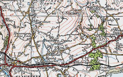 Old map of Boscoppa in 1919