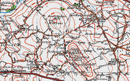 Old map of Boscreege in 1919