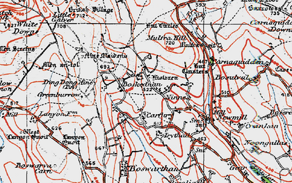 Old map of Boskednan in 1919