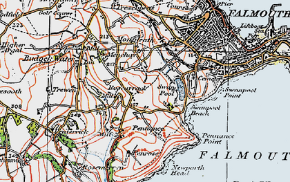 Old map of Boslowick in 1919