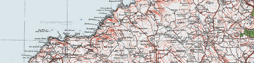 Old map of White Downs in 1919