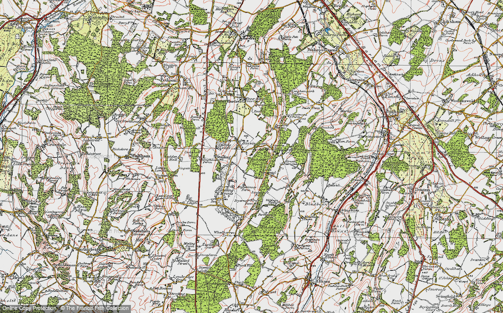 Old Map of Historic Map covering Atchester Wood in 1920