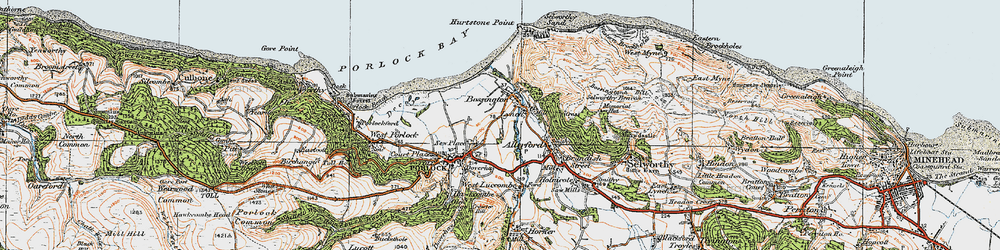 Old map of Bossington in 1919