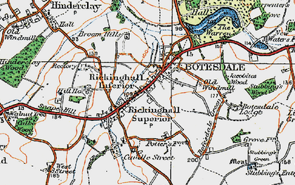 Old map of Botesdale in 1920
