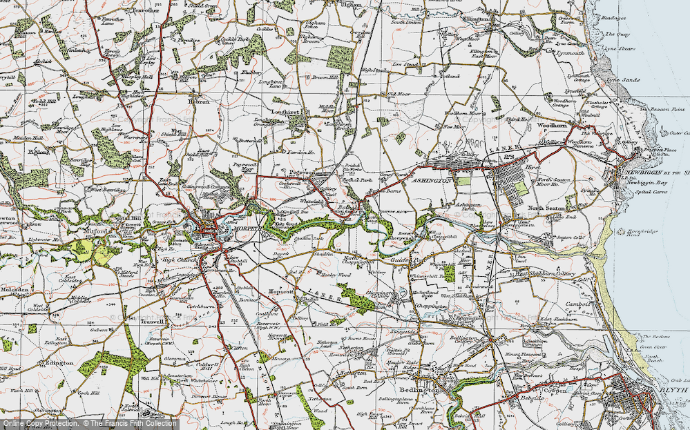 Old Map of Historic Map covering Whitefield in 1925
