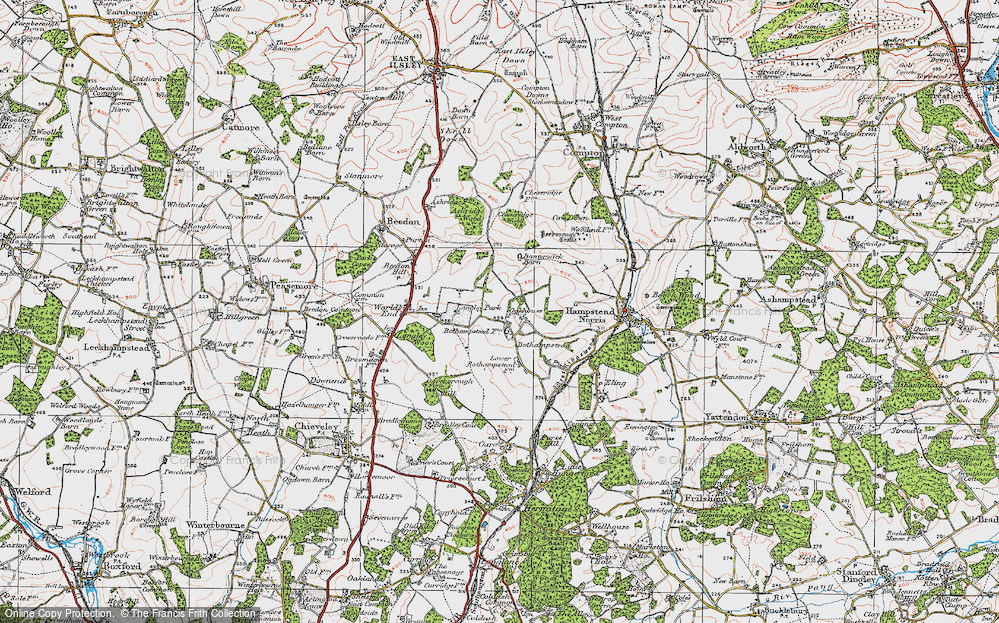 Old Map of Historic Map covering Ashridge Wood in 1919
